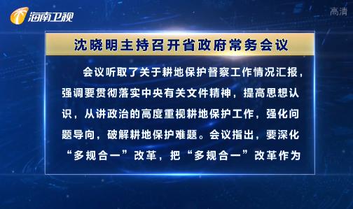 沈晓明主持召开省政府常务会议 研究耕地保护等重要工作
