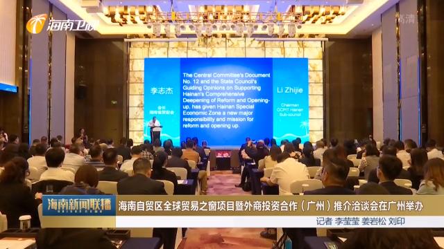 海南自贸区全球贸易之窗项目暨外商投资合作(广州)推介洽谈会在广州举办