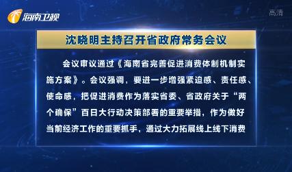 沈晓明主持召开省政府常务会议 研究完善促进消费体制机制等工作