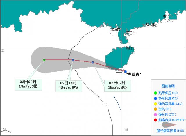 """台风三级预警!今年第3号台风""""森拉克""""即将从三亚以南近海擦过进入北部湾"""