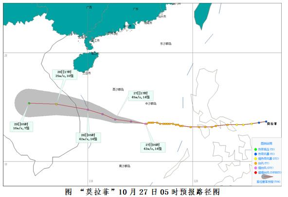 """台风""""莫拉菲""""将继续西行28日上午登陆越南  今明两天海南陆地有强风雨天气"""